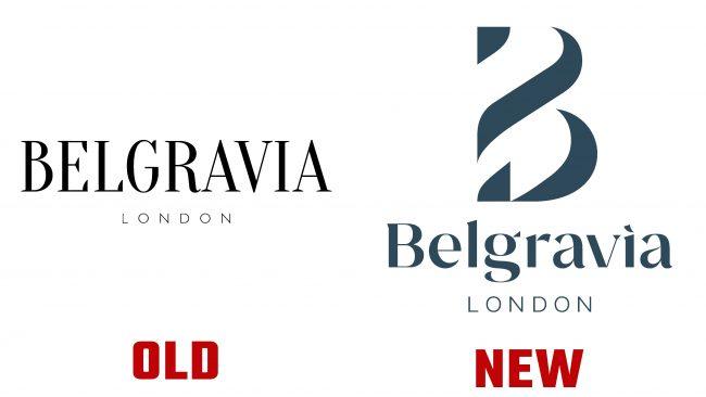 Belgravia London nuevo y antiguo Logotipo (historial)
