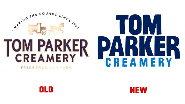 Tom Parker Creamery antiguo y nuevo logotipo (Historia)