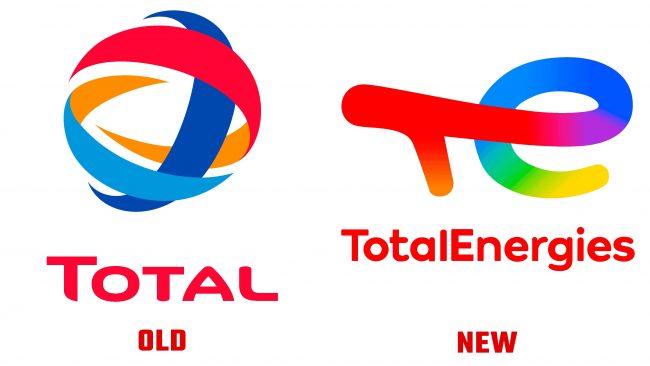 TotalEnergies antiguo y nuevo logotipo (historia)