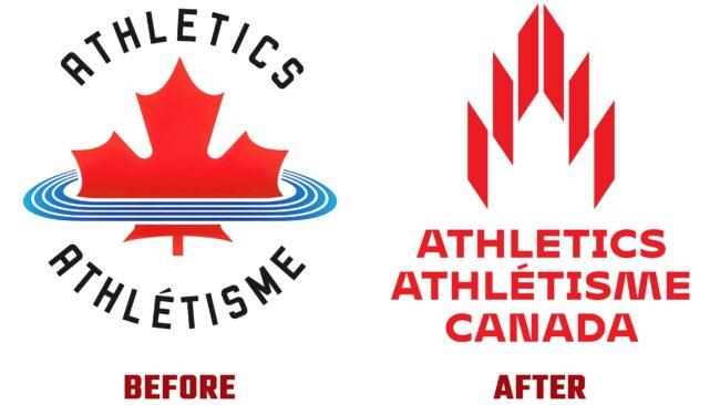 Athletics Canada Antes y Después del Logotipo (historia)