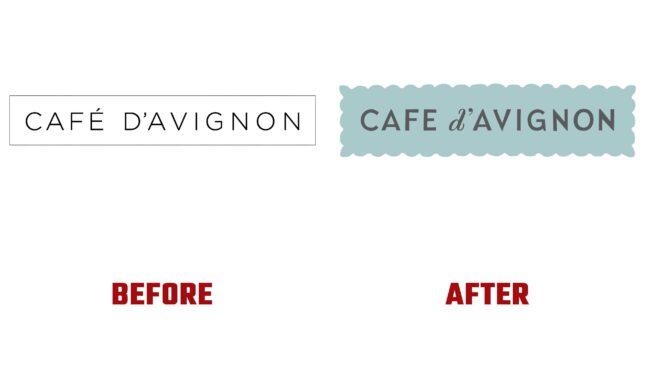 Café d'Avignon Antes y Después del Logotipo (historia)