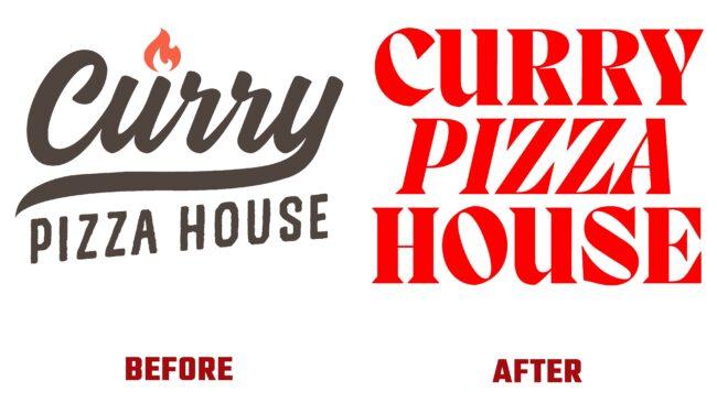 Curry Pizza House Antes y Después del Logotipo (historia)