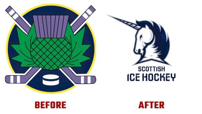 Scottish Ice Hockey Antes y Despues del Logotipo (historia)