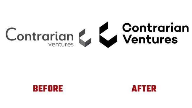 Contrarian Ventures Antes y Despues del Logotipo (historia)