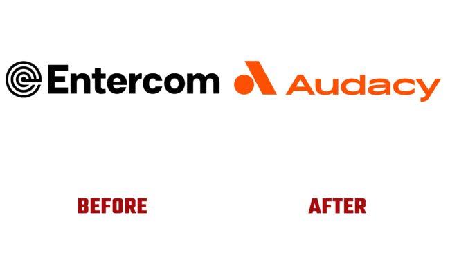 Entercom y Audacy Antes y Despues del Logotipo (historia)