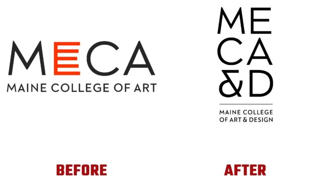 Maine College of Art & Design (MECA&D) Antes y Después del Logotipo (historia)