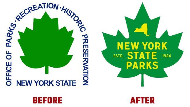 NY State Parks Antes y Después del Logotipo (historia)