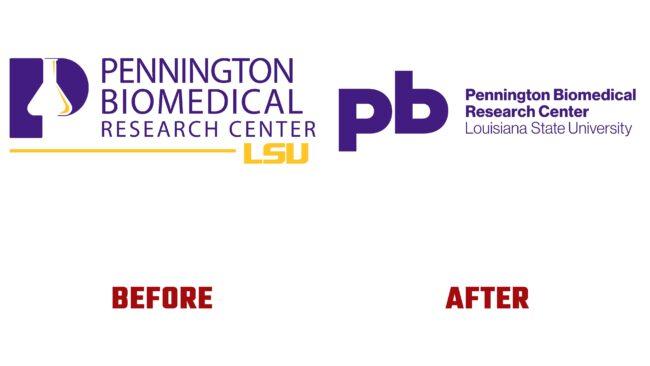 Pennington Biomedical Antes y Despues del Logotipo (historia)