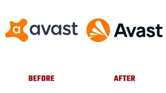 Avast Antes y Después del Logotipo (historia)