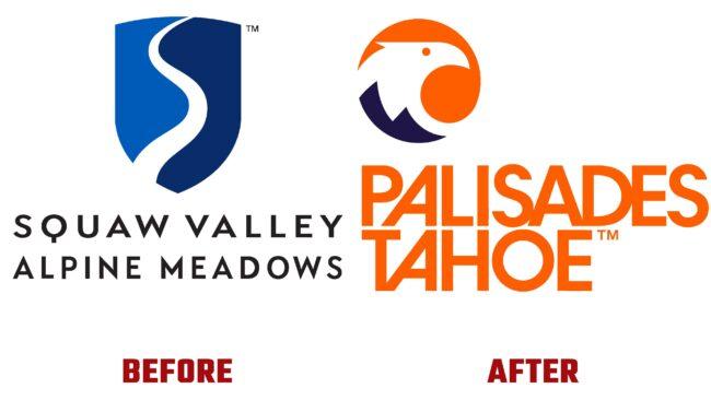 Palisades Tahoe Antes y Despues del Logotipo (historia)