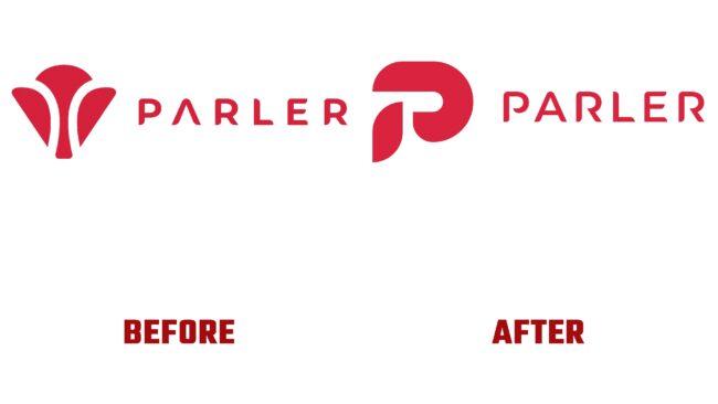 Parler Antes y Después del Logotipo (historia)
