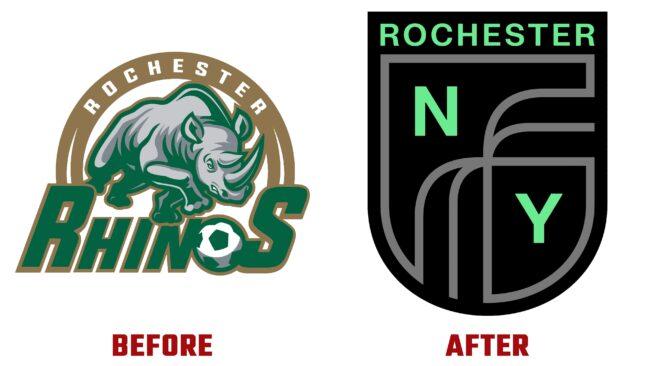 Rochester New York FC Antes y Despues del Logotipo (historia)